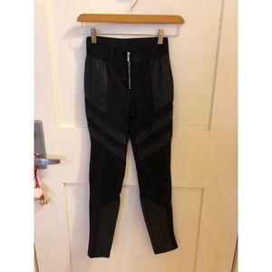 Women's Black Faux-Leather Detailed Leggings